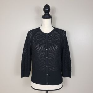 ST. JOHN Black Wool Rayon Knit Cardigan